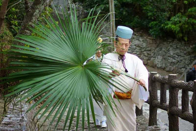 man carrying special leaf known as kuba