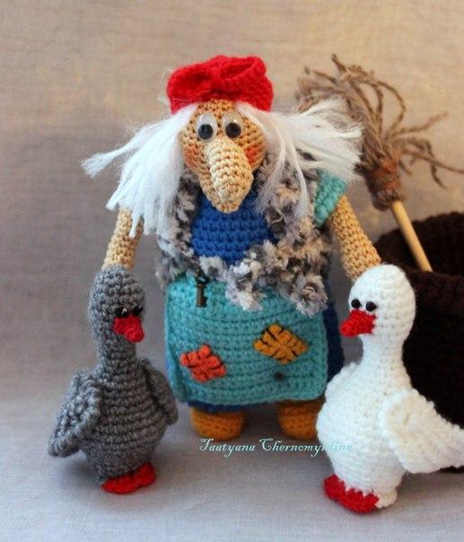 куклы, куклы текстильные, текстиль, кукла Баба-Яга, Баба-Яга, кукла Бабка, персонажи сказочные, куклы вязанные, шитье, куклы интерьерные, схемы, своими руками, гуси, вязание крючком, http://prazdnichnymir.ru/