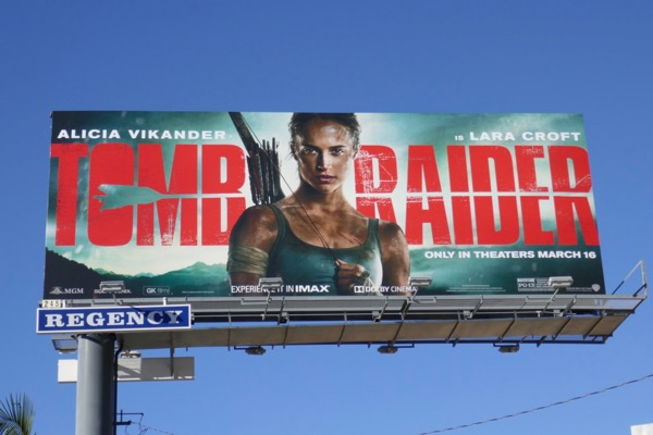 Alicia Vikander Tomb Raider movie billboard