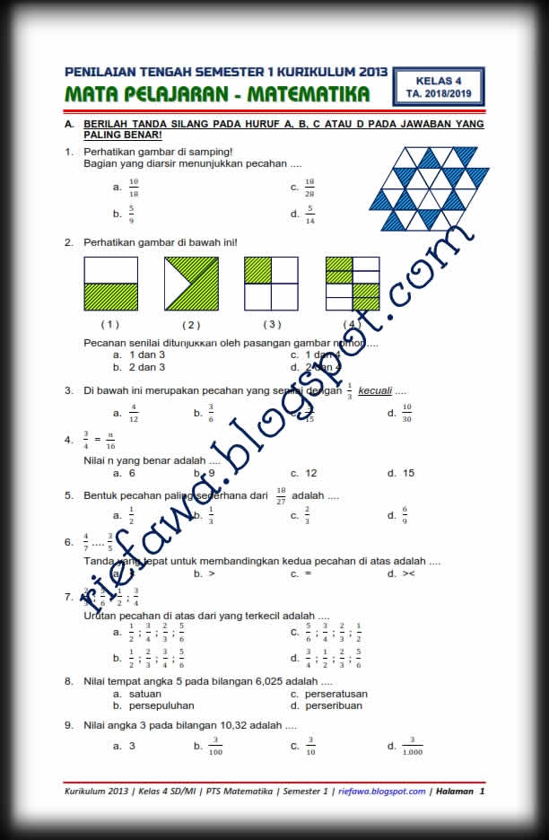 Soal Matematika Kelas 4 Semester 2 Kurikulum 2013 Revisi 2018 : matematika, kelas, semester, kurikulum, revisi, Download, Matematika, Kelas, SD/MI, Kurikulum, Semester, Terbaru