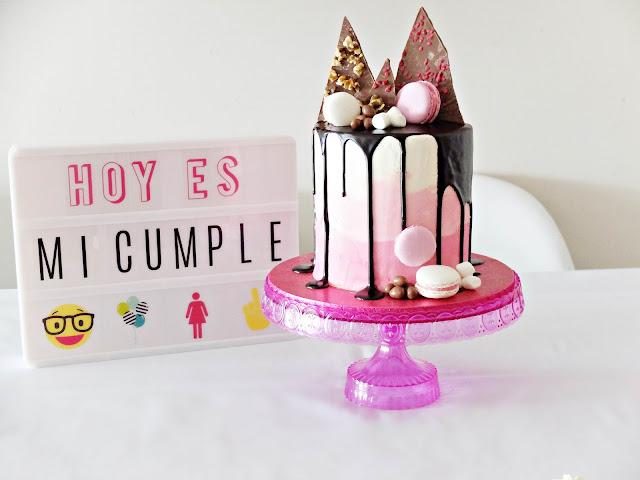 tarta de cumpleaños tendencia 2016 - pasteleria fresa y chocolate fuenlabrada - drip cake
