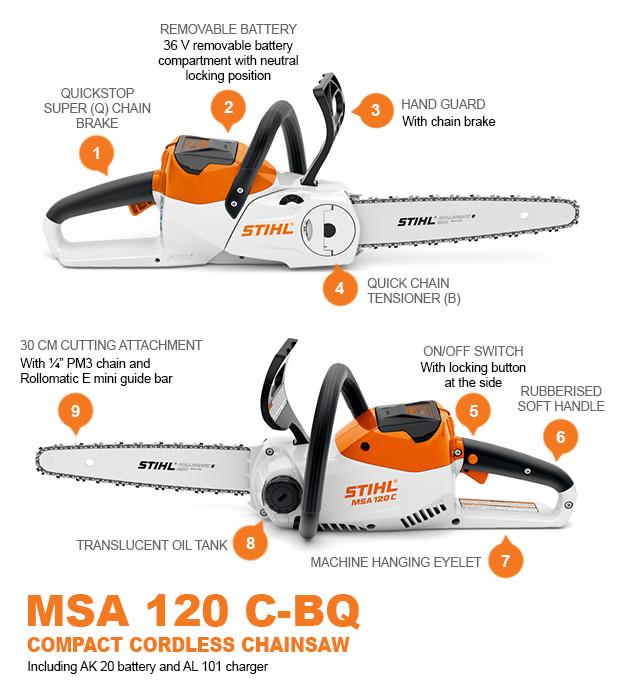 STIHL MSA120C-BQ COMPACT CORDLESS CHAINSAW