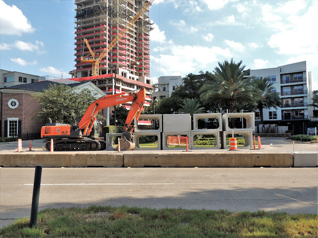 Storm sewer installation and roadwork on Post Oak Blvd at West Loop
