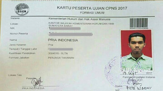 Nama Unik Peserta Ujian CPNS 2017
