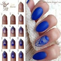 Manicure hybrydowy Cosmetics Zone 185 Parisian Blue - negative space nails, matowe wykończenie