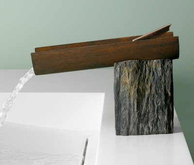 marble and metal faucet