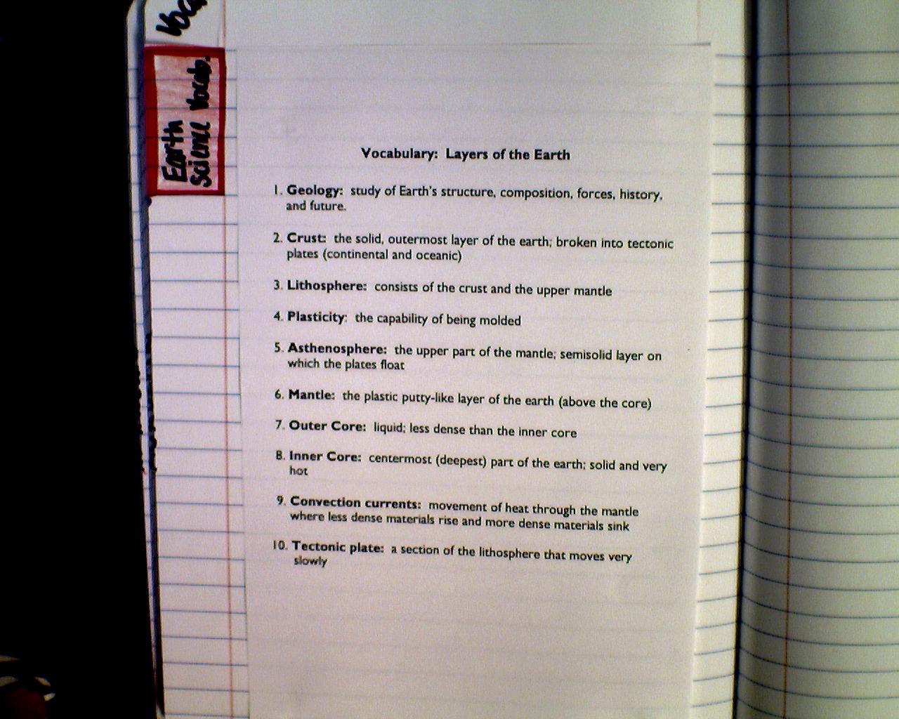 Mrs Dingler S 6th Grade Science Class Layers Of The Earth Vocabulary