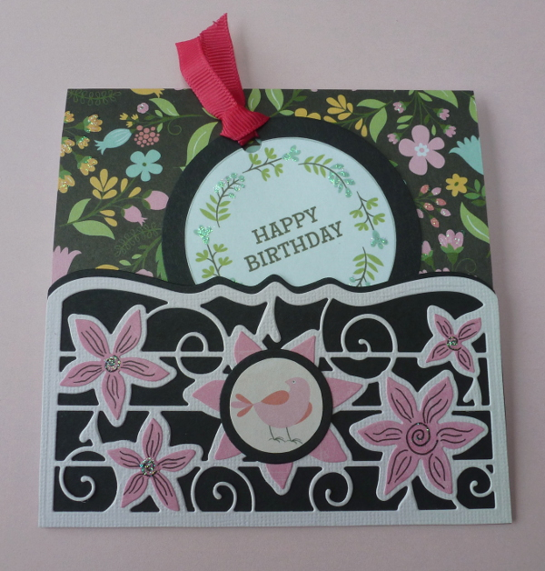 Pocket card happy birthday black and pink design Tonic die circle tag