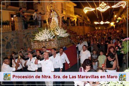El domingo día 8 de septiembre podrá presenciar la tradicional procesión de Nuestra Señora de Las Maravillas patrona de Maro