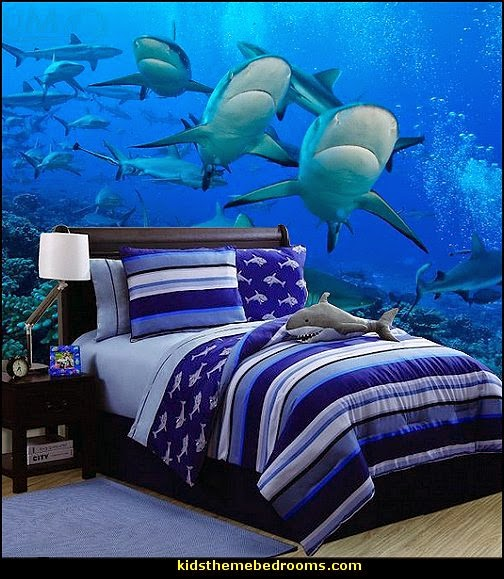 Shark Bedrooms - shark murals - Shark Decor - shark wall decals - shark theme bedroom decorating ideas -  surfing theme bedrooms - surf shack bedrooms - shark bedding - nautical bedrooms - 3d shark wall decorations