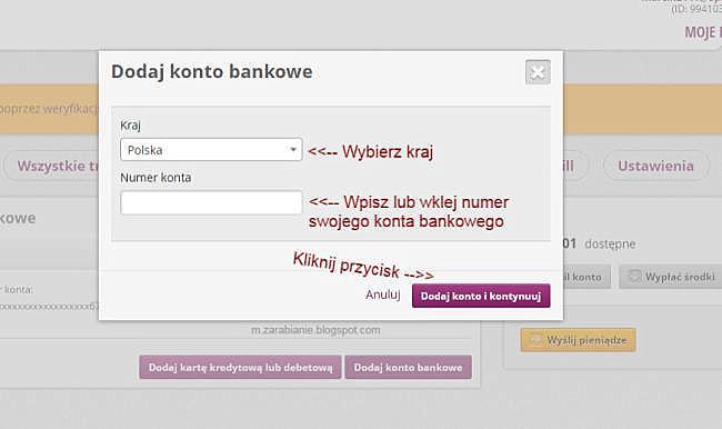 Skriil — dodawanie konta bankowego
