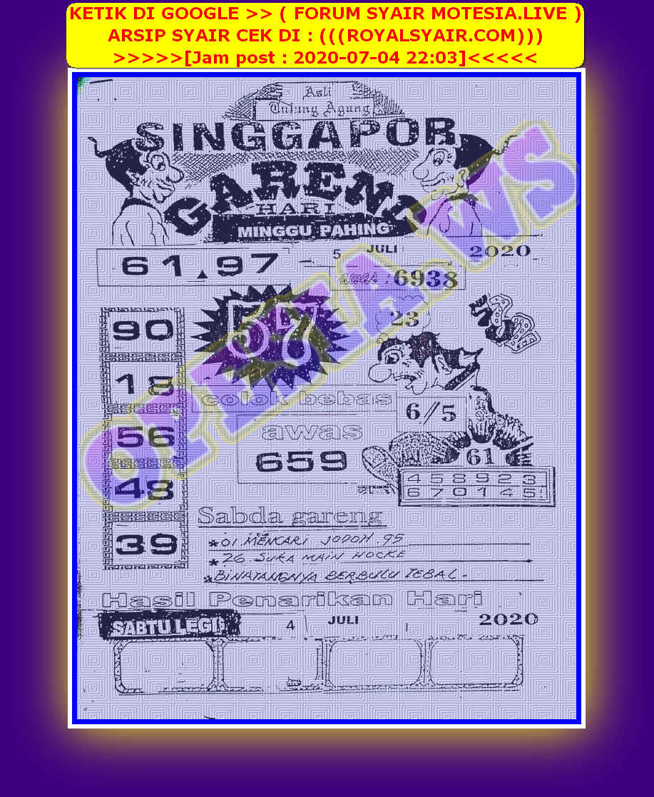 Kode syair Singapore Minggu 5 Juli 2020 10