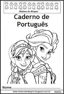 Capa para caderno português Frozen
