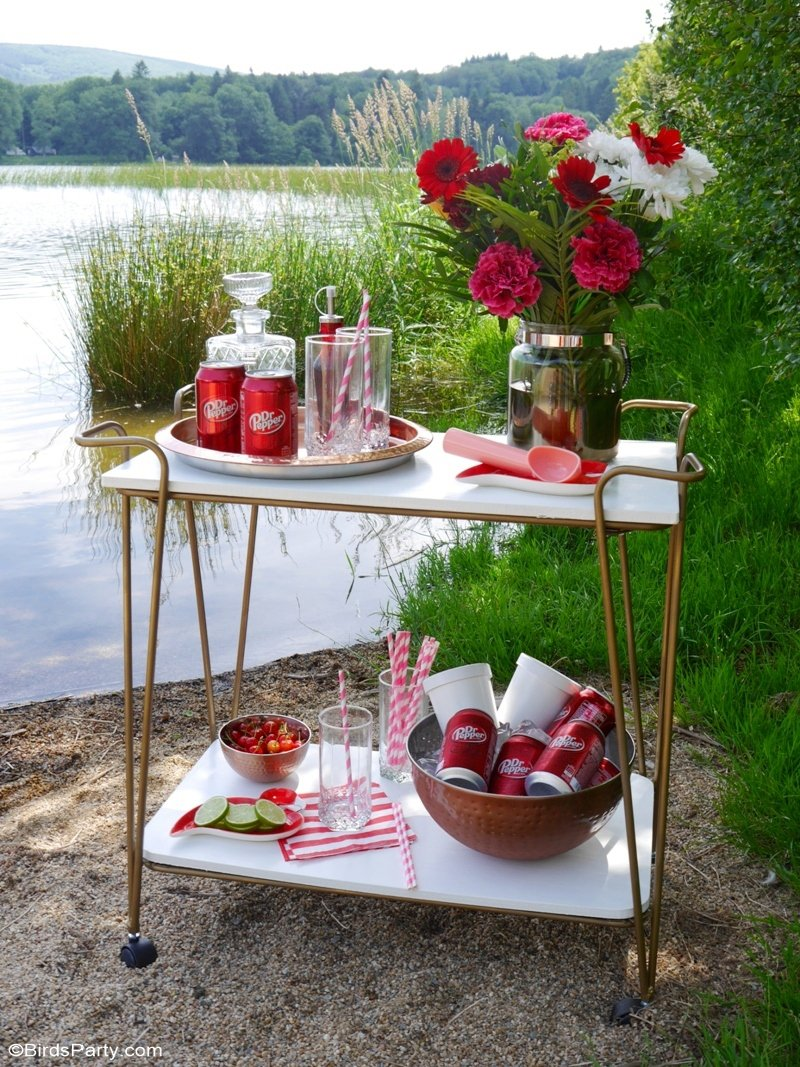 How to Throw an Epic Lake Party This Summer - styling ideas, fun and delicious, spiked libations for an adult summer party by the lake! by BIrdsParty.com @birdsparty #lakesideparty #lakeparty #summerparty #adultparty #poolsideready #poolready #beachparty #icecreamfloats