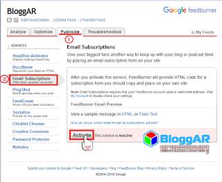 Mengaktifkan Email Langganan Blog