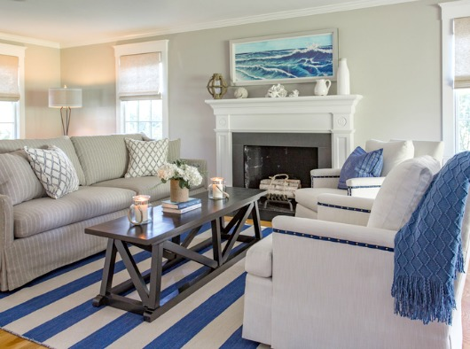 Bright blue and white nautical living room New England style