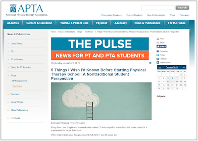 Screenshot and Link to Five Things I Wish I'd Known Before Starting PT School