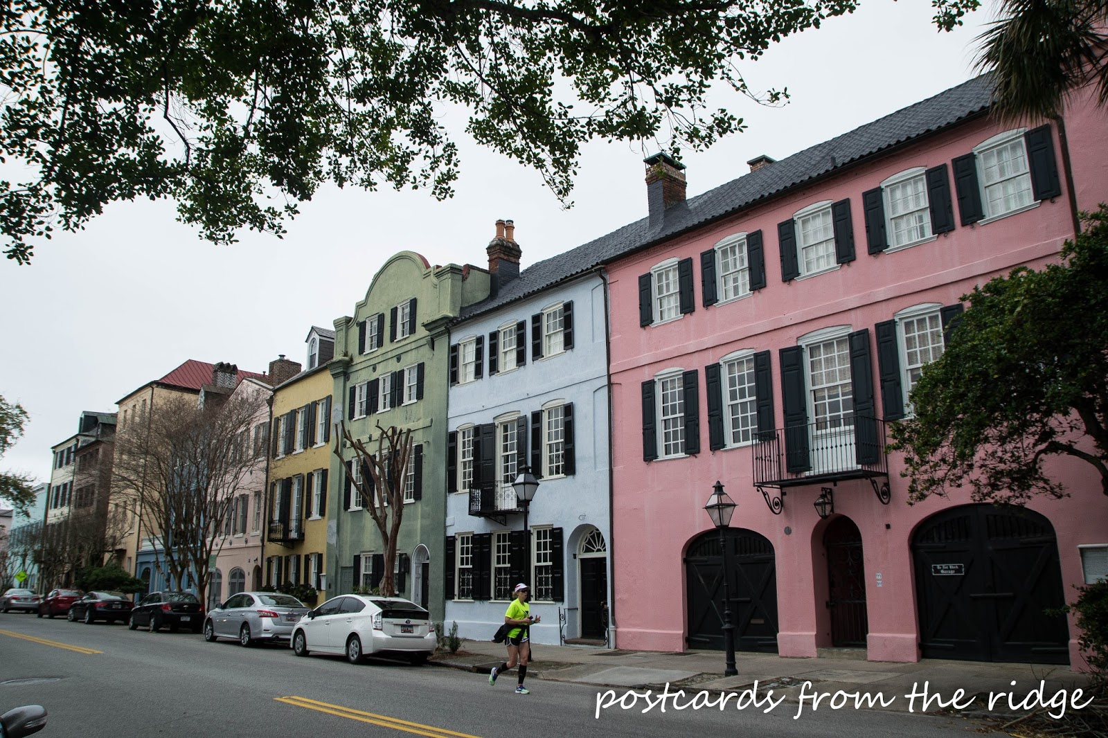 Rainbow Row in Charleston, SC. So pretty! Postcards from the Ridge.