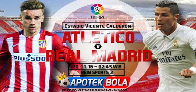 Prediksi Pertadningan Atletico Madrid vs Real Madrid 20 November 2016