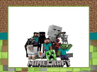 ara hacer Invitaciones, Marcos, Etiquetas o Tarjetas para Imprimir Gratis de Fiesta de Minecraft.