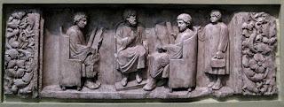 Relieve que representa un maestro con tres discípulos (ca. 180-185 d. C.