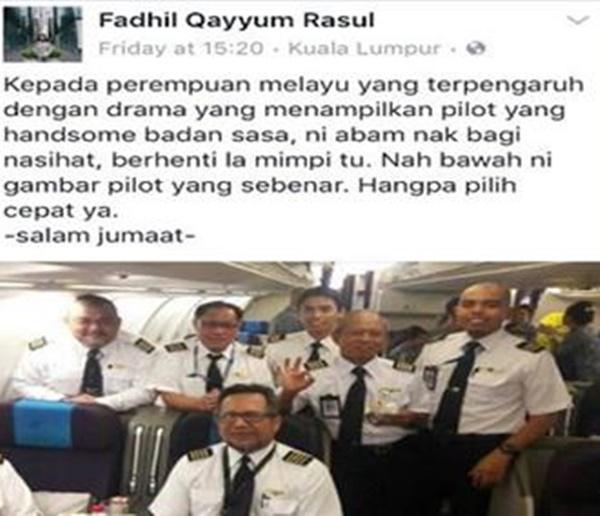 Inilah Gambar Pilot Muda Bukti Perempuan Melayu Tidak Terpengaruh Dengan Drama!