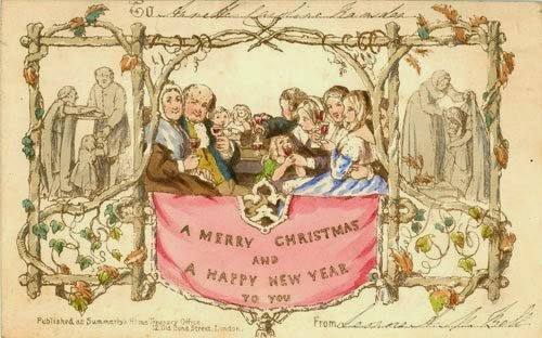 coles card depicted a happy family raising their glasses to toast the season a merry christmas and a happy new year to you was printed on that first