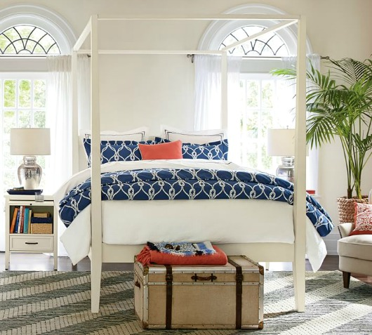 Nautical Tropical Bedroom with Canopy Bed