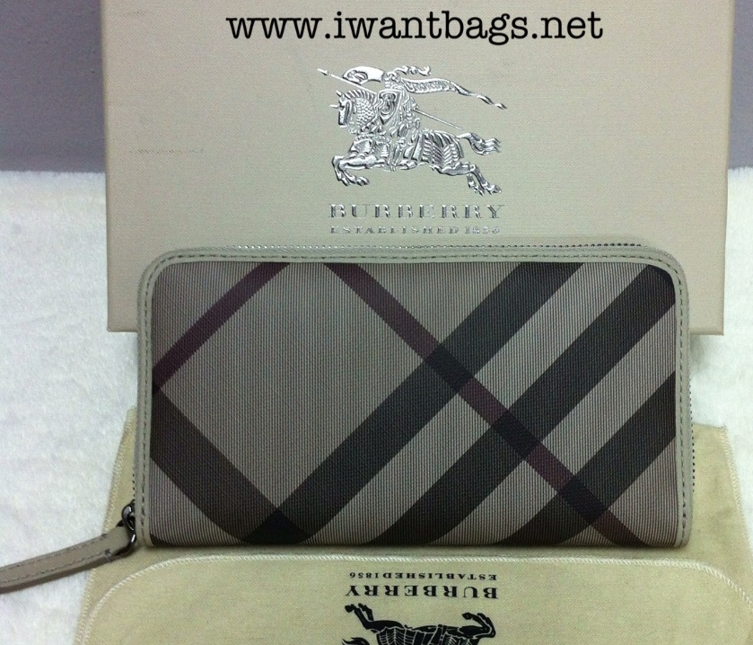 eab6225f3fad I Want Bags backup: Burberry Smoked Check Zip Around Wallet