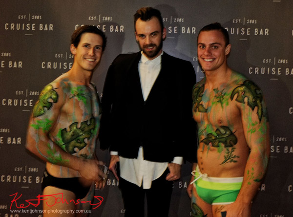 Christopher Haggerty and male models in jungle body paint, Cruise Bar re-launch. Photography by Kent Johnson - Street Fashion Sydney.