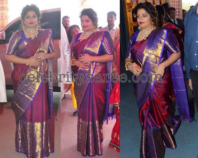Viranica Manchu Maroon Silk Saree