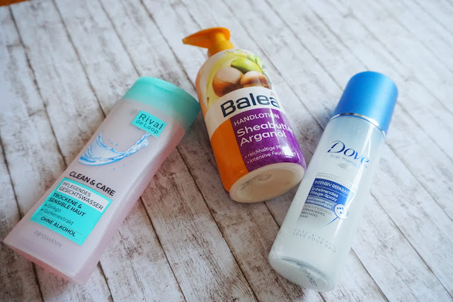 Balea - Handlotion Sheabutter Arganöl, Rival de Loop - Clean&Care Pflegendes Gesichtswasser, Dove - Intensiv Reparatur Entwirrendes Pflege-Spray