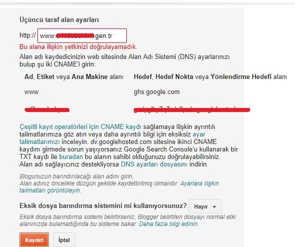 blogger özel domain alan adı ekleme tanımlama