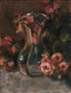 Oil painting of a tulip-shaped glass vase amongst a bunch of pink plastic miniature roses.