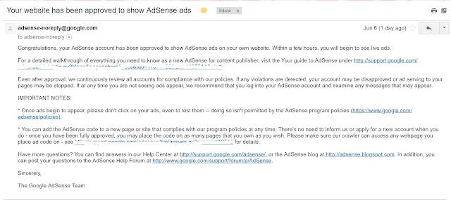 akhirnya Google Adsense Diluluskan