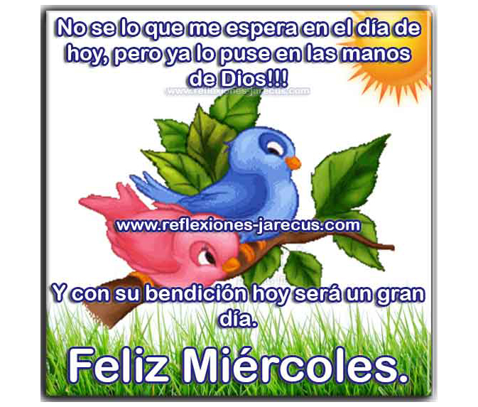 Feliz miércoles, no se lo que me espera en el día de hoy, pero ya lo puse en las manos de Dios, y con su bendición hoy será un gran día.
