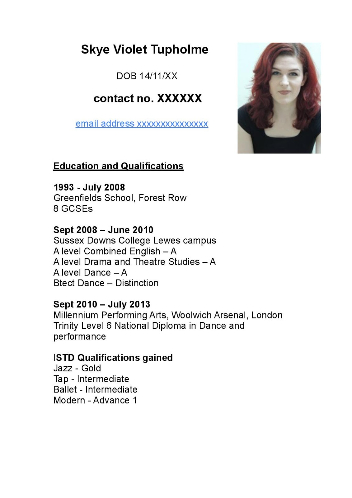 skye violet tupholme task 1a professional profile the first is my performance cv
