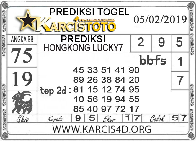Prediksi Togel HONGKONG LUCKY 7 KARCISTOTO 05 FEBRUARI 2019
