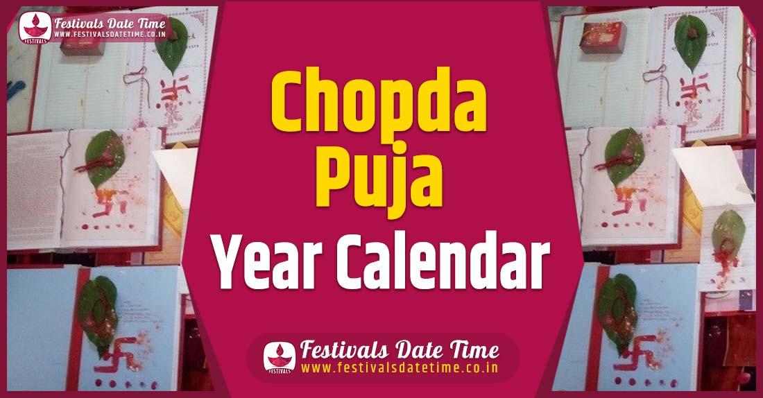 Chopda Puja Year Calendar, Chopda Puja Festival Schedule