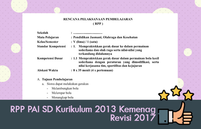 RPP PAI SD Kurikulum 2013 Kemenag Revisi 2017