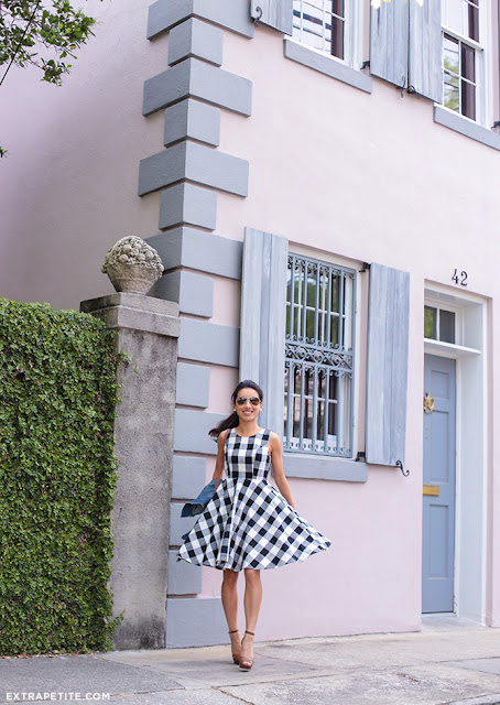 black and white gingham check flared dress | Extra Petite