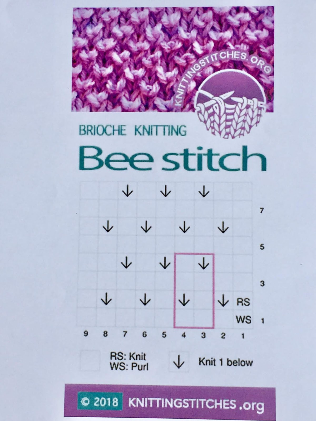 Knitting Stitches 2018 -  Bee Brioche
