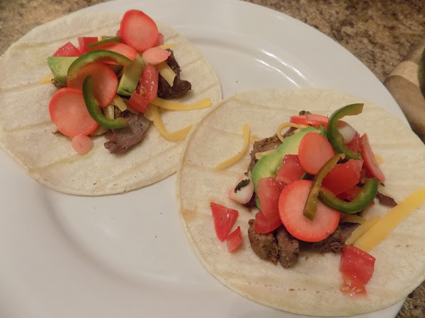 Election night on taco Tuesday! (Trader Joe's carne asada tacos with homemade pickled radishes)