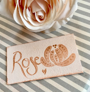 Pink and Rose Gold create a delicate and feminine gift tag for a birthday gift