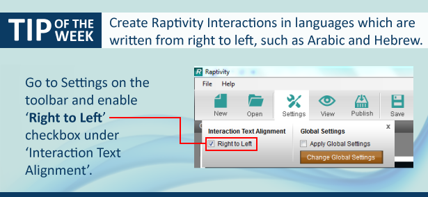 A graphic explaining right-to-left text alignment feature in Raptivity