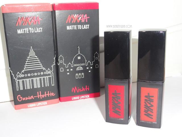Nykaa Matte To Last Liquid Lipstick review: 03 Guwa-hottie and 10 Mishti