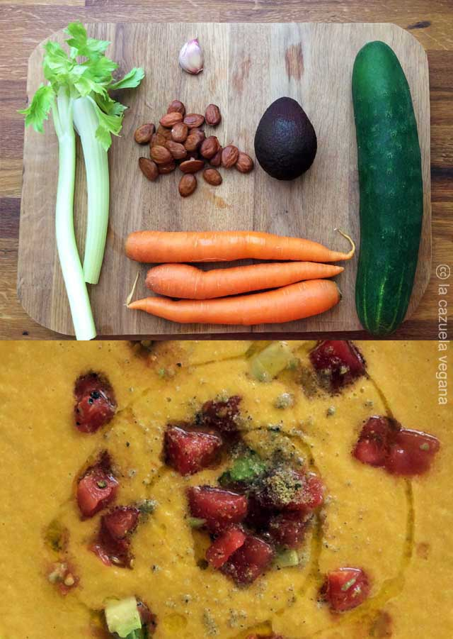 Crema fría zanahoria, pepino, aguacate y almendras