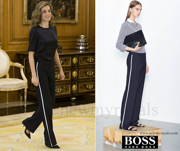 Queen Letizia wore Hugo Boss Aminalia Trousers