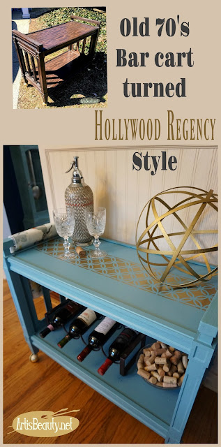 70's bar cart turned hollywood regency style barcart diy general finishes stencilled blue and gold makeover