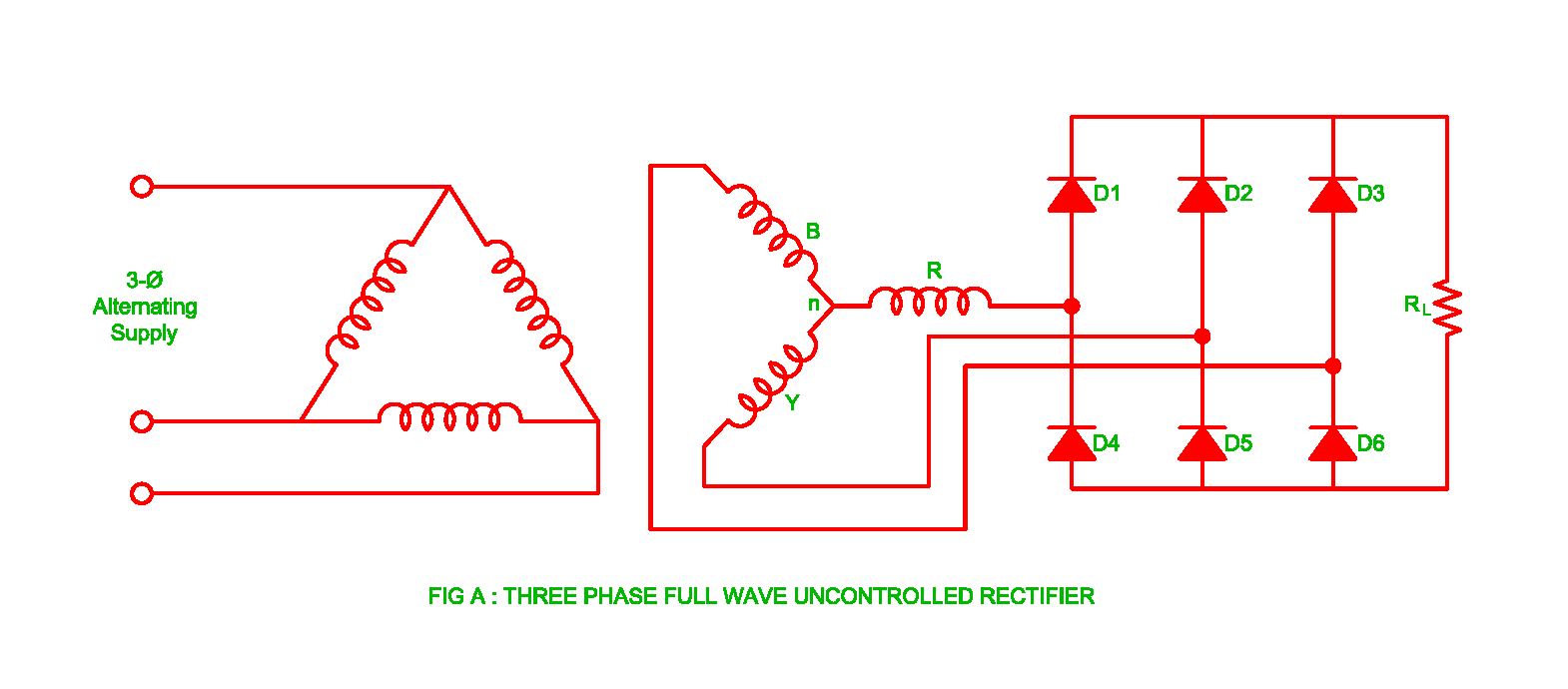 Working Of Three Phase Uncontrolled Full Wave Rectifier Electrical The Answer Converters